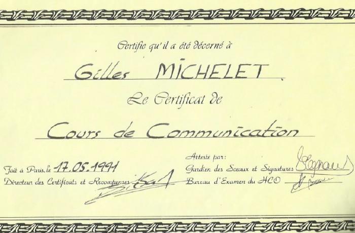Certificat de Cours de communication
